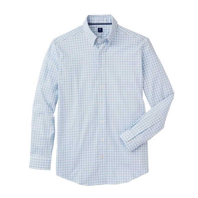 Stretch Cotton Woven Gingham Check Shirt
