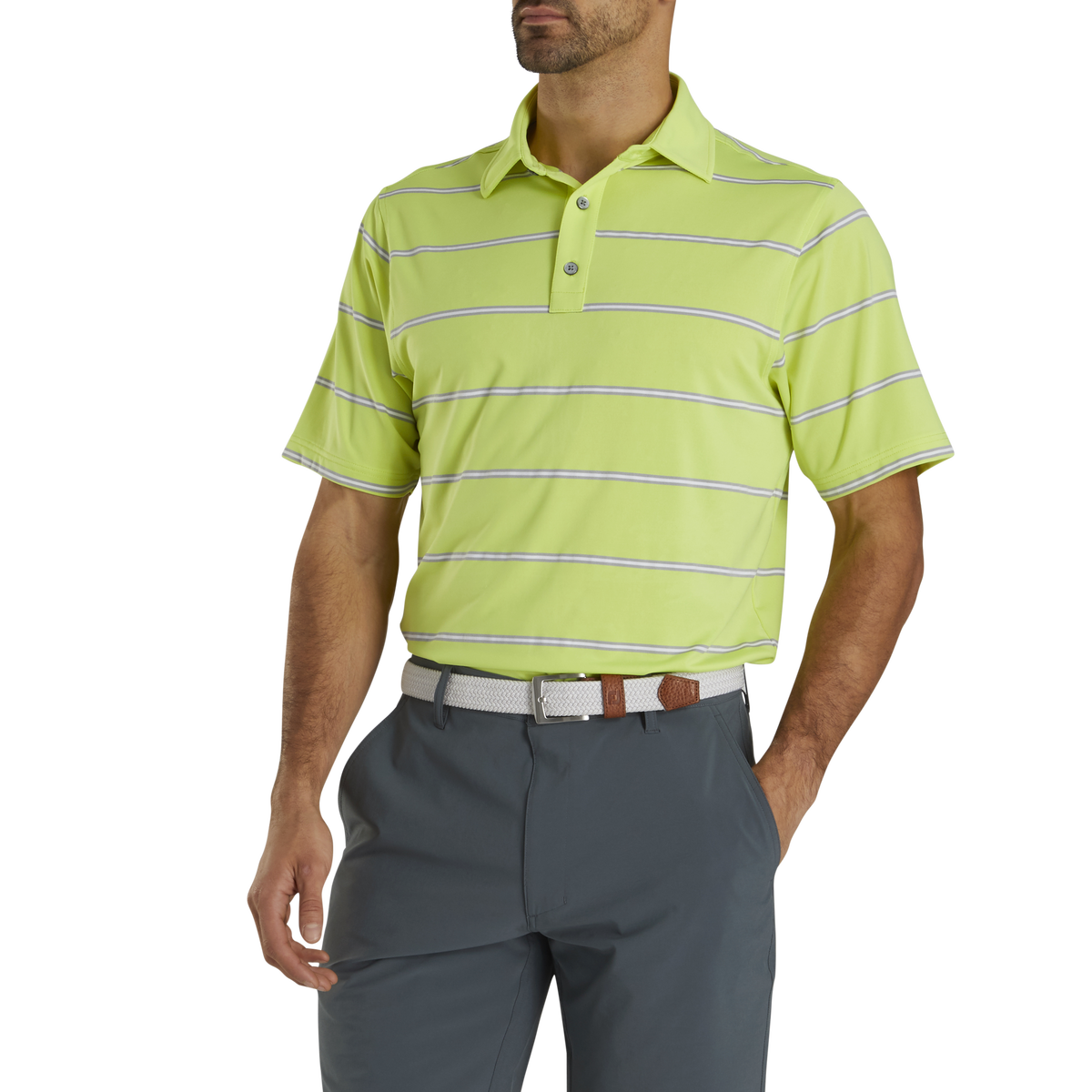 Lisle Pique Open Stripe Self Collar