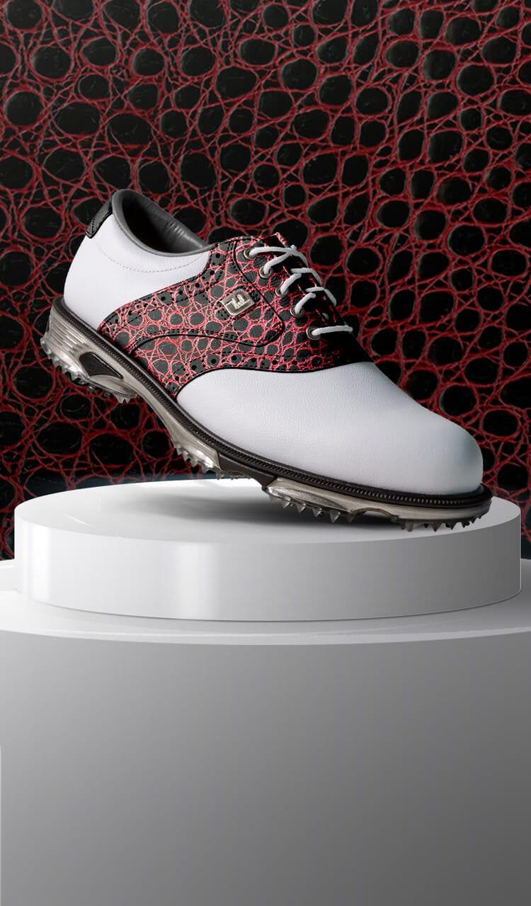 FootJoy Design My Own MyJoys Custom Golf Shoes - Red Croc Leather