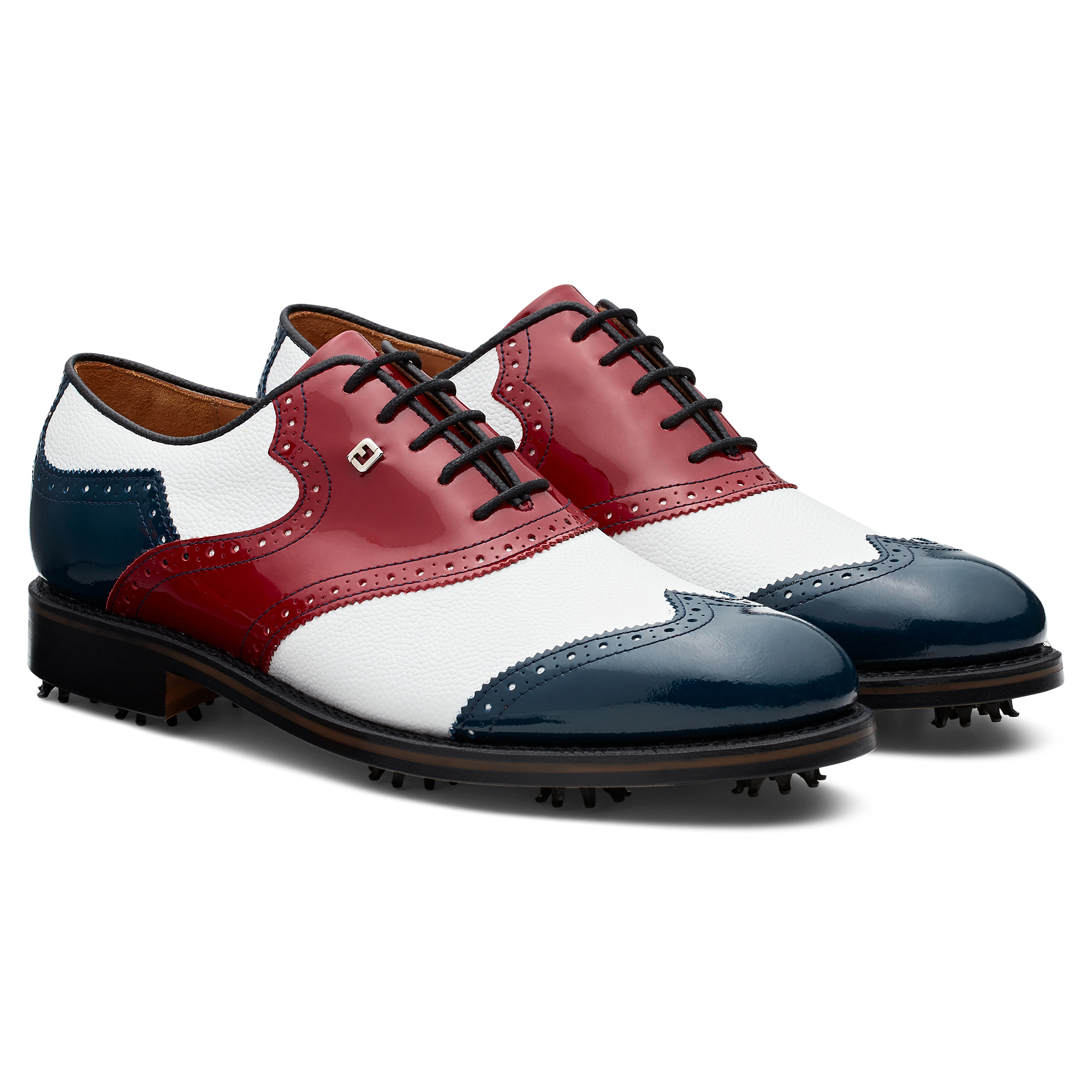 White / Navy / Red Patent
